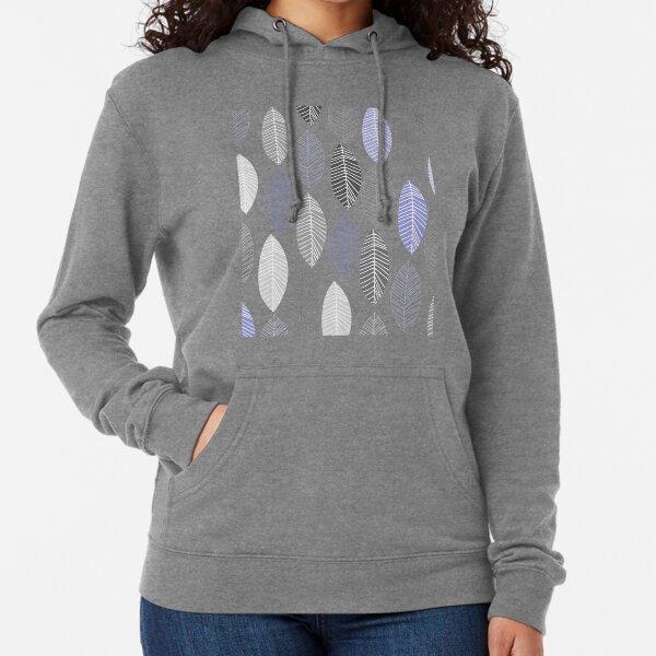 Minimal grey and purple leaves pattern Lightweight Hoodie