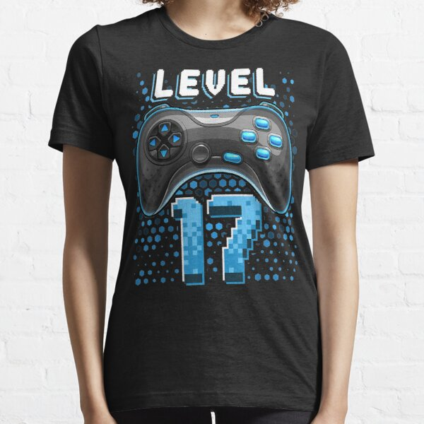 Nivel 17 Controlador de videojuegos 17 cumpleaños Regalo de jugador Niños Camiseta esencial