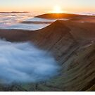 Pen Y  Fan Sunrise Panorama, Wales by Justin Foulkes