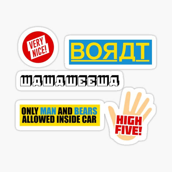 Borat Subsequent Movie Film Sticker Pack - Borat 2 Sequel Sacha Baron Cohen Quotes Meme New Movie 2020 Watch Apparel Swimsuit Funny Gift Present Trailer Poster Cast Characters Interview Fan Art Print Sticker
