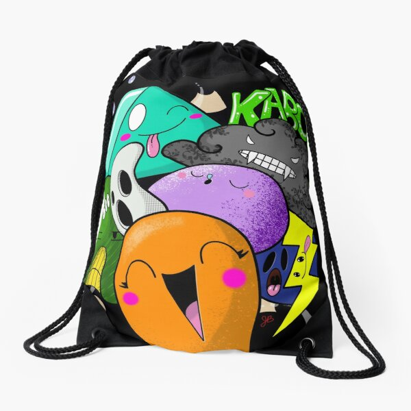 Kaboom, boo, grrr, graffiti art, kawaii Drawstring Bag