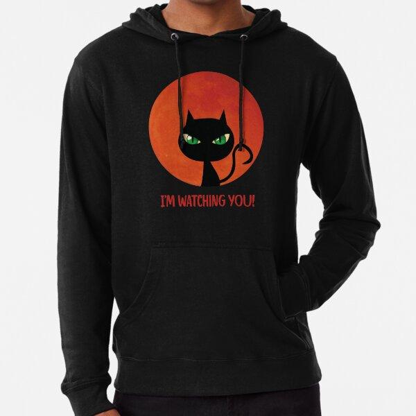 Black cat funny saying red moon Halloween Lightweight Hoodie