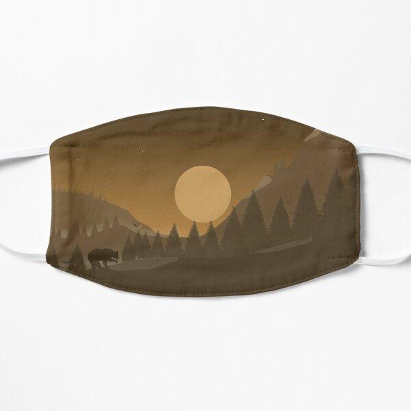 2d hill landscape with bear Flat Mask