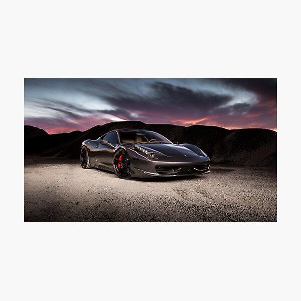 Chrome Ferrari 458 Italia at Sunset Photographic Print
