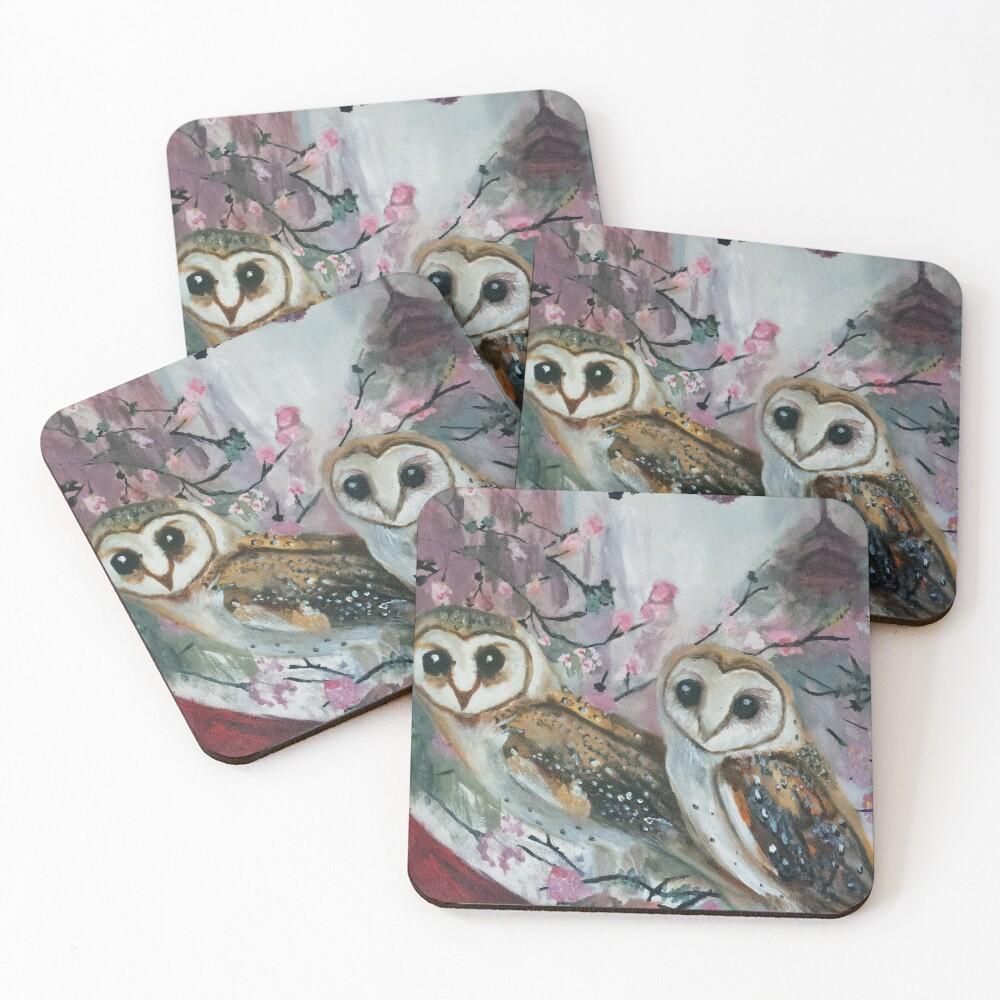 Barn Owls & Cherry Trees Coasters (Set of 4)