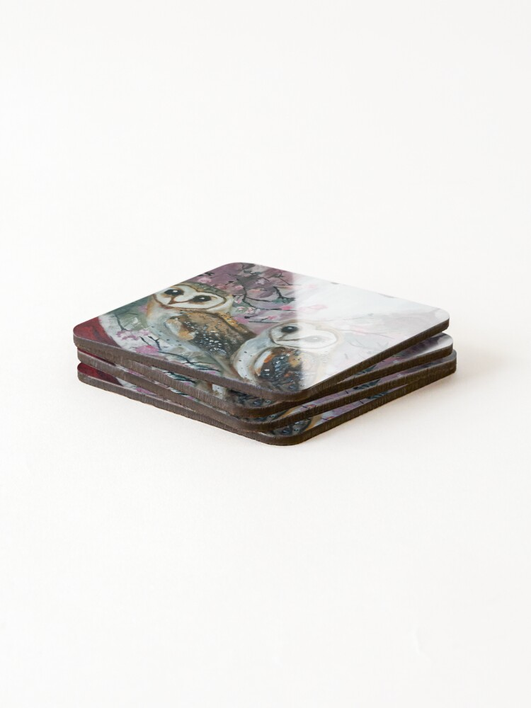 Alternate view of Barn Owls & Cherry Trees Coasters (Set of 4)
