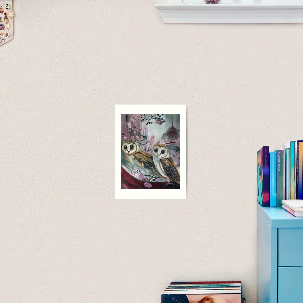 Barn Owls & Cherry Trees Art Print