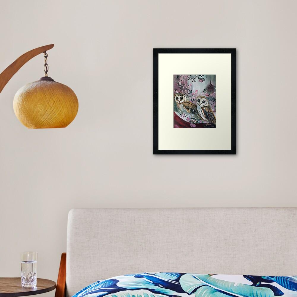 Barn Owls & Cherry Trees Framed Art Print