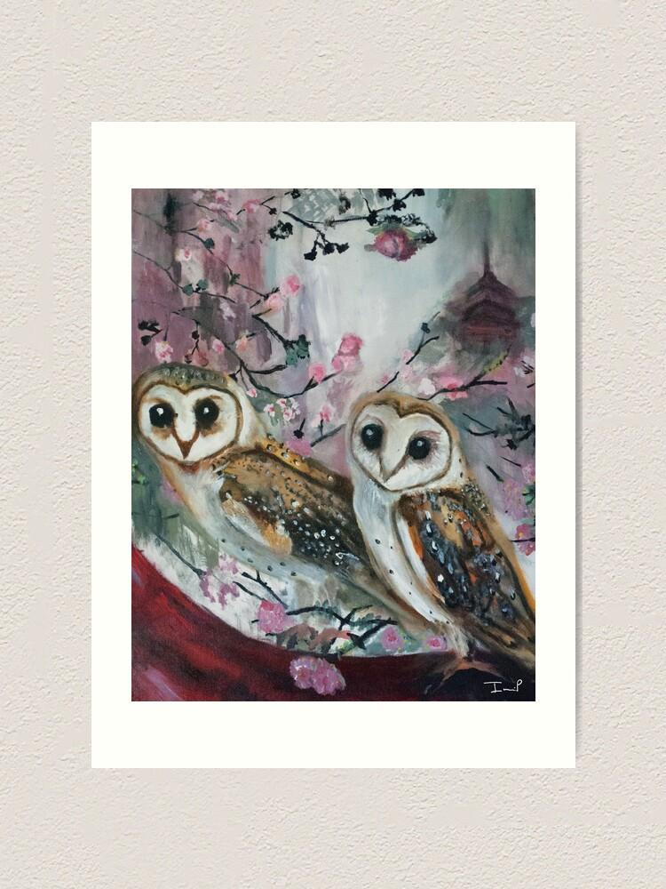 Alternate view of Barn Owls & Cherry Trees Art Print