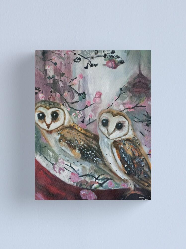 Alternate view of Barn Owls & Cherry Trees Canvas Print