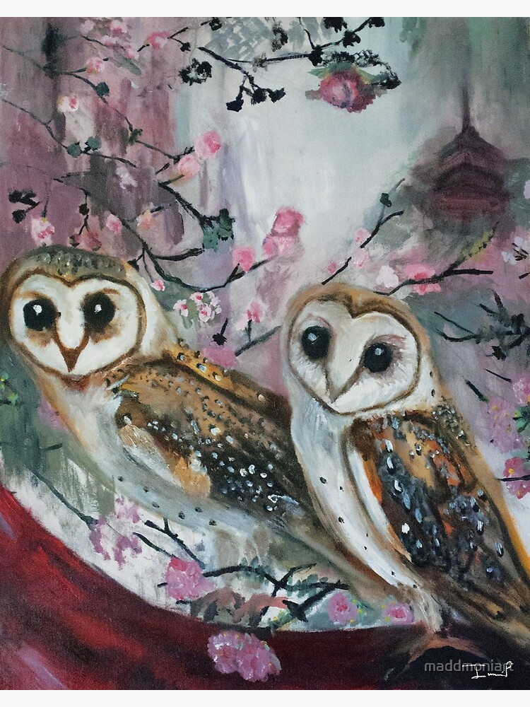 Barn Owls & Cherry Trees by maddmoniart