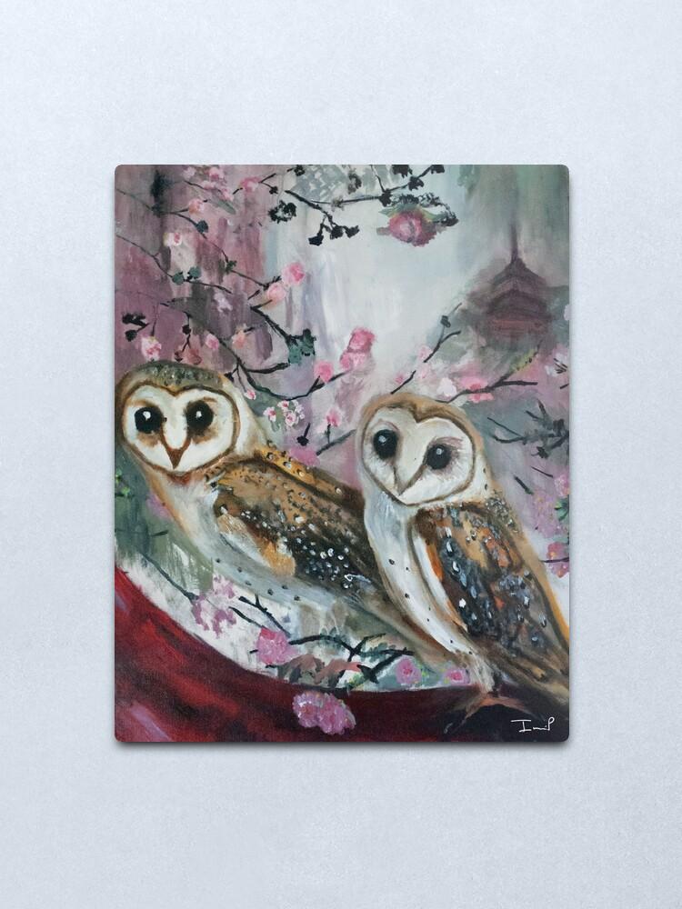 Alternate view of Barn Owls & Cherry Trees Metal Print
