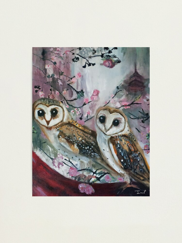 Alternate view of Barn Owls & Cherry Trees Photographic Print