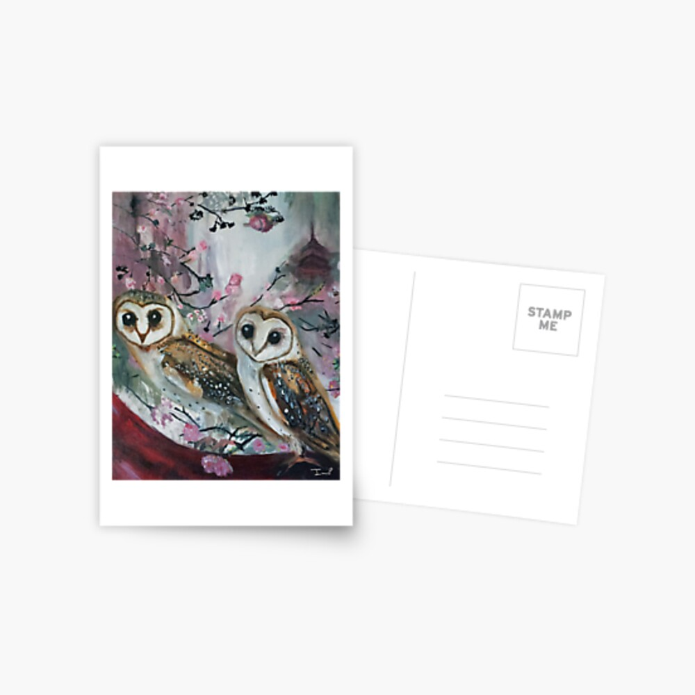 Barn Owls & Cherry Trees Postcard