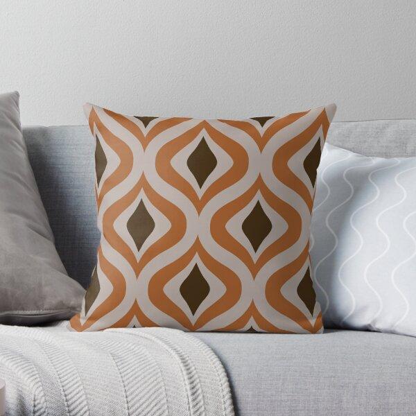 70s Pattern Flower Snake Pattern Eye in Orange and Dark Brown Throw Pillow