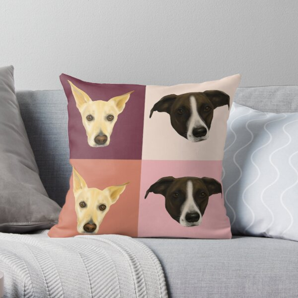 Sweet Dog Portraits - Modern Geometrical Style Throw Pillow