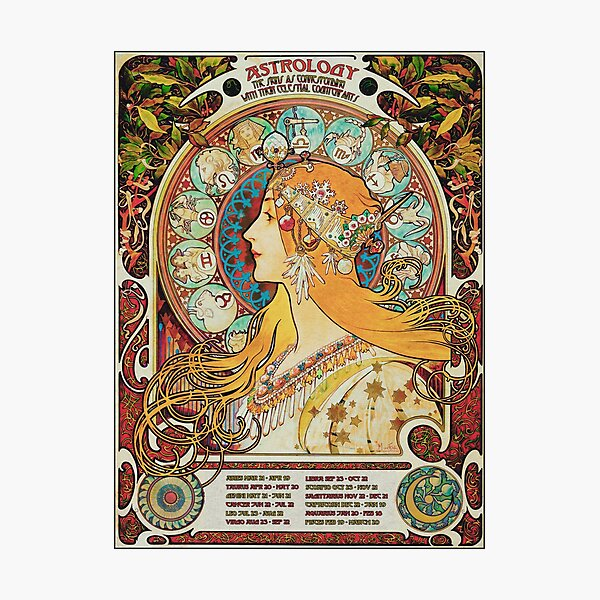 Vintage Gypsy Astrology Poster | Alphonse Mucha  Photographic Print