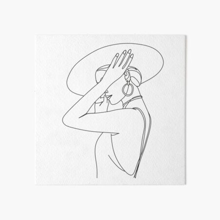Abstract face with hat by line art vector drawing. Portrait minimalistic style.  Fashion print.  Art Board Print