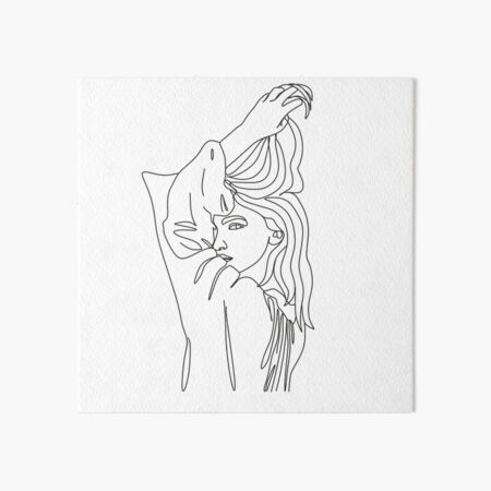 Female Line Art, Female Figure Line Drawing, Female Face, One Line, Woman Sketch, Continuous Line, Abstract Line Portrait Art. Woman with long hair line art vector drawing.  Art Board Print
