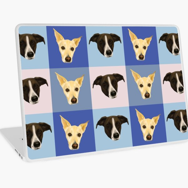 Dog Portraits on Checkered Pattern - Modern Geometrical Style Laptop Skin