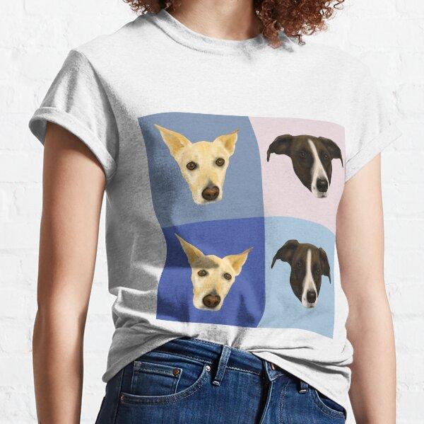 Dog Portraits on Checkered Pattern - Modern Geometrical Style Classic T-Shirt