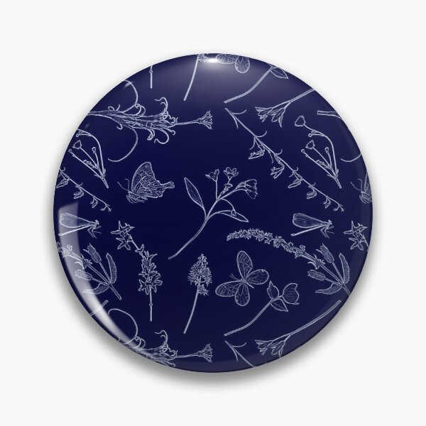 Flowers and Butterflies on Blue Pin