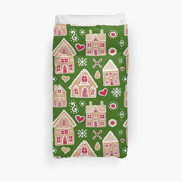 Christmas Gingerbread House Pattern Duvet Cover