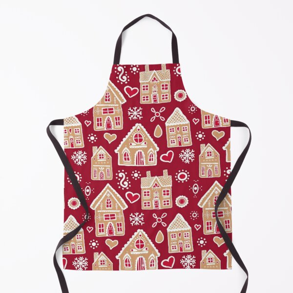 Christmas Gingerbread House Pattern Apron