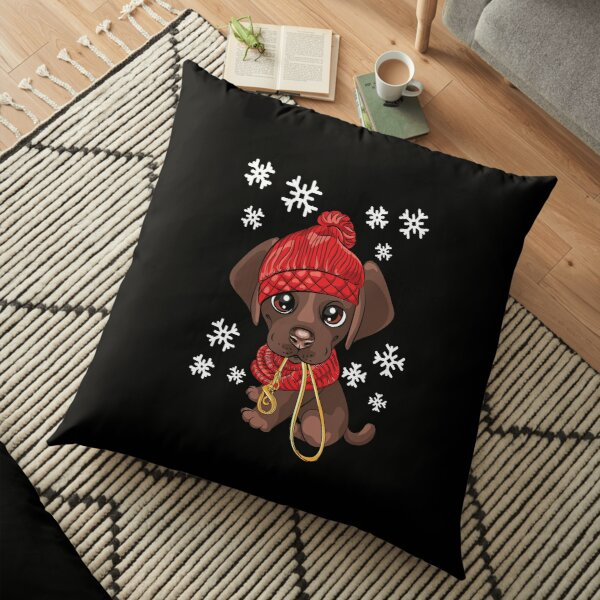 Winter Dachshund Dog with Snowflakes, Hat, Scarf Floor Pillow
