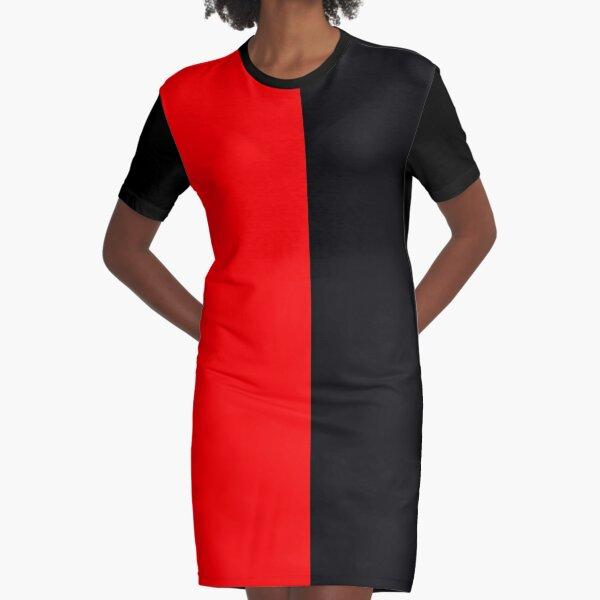 Backpack Half Red Half Black Graphic T-Shirt Dress