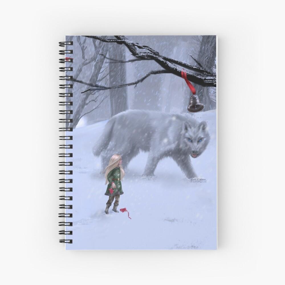 Holiday Winter Wolf Spiral Notebook