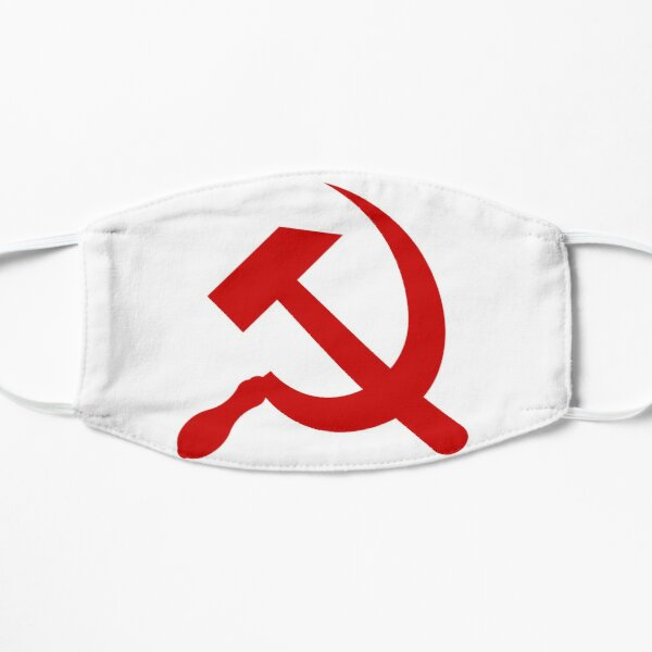 A #red #hammer and #sickle, in the shape it appeared (in gold) on the #Soviet Unions flag from 1955 to 1991 Mask