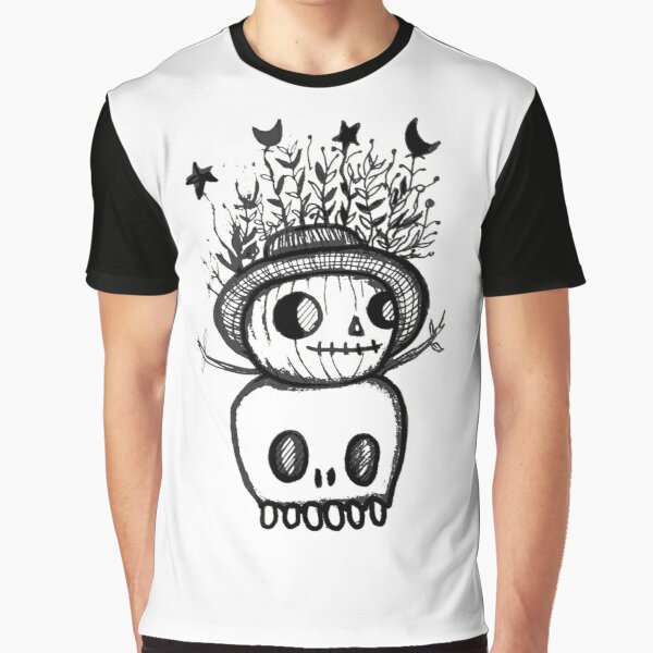 Pumpking and Skeleton Graphic T-Shirt