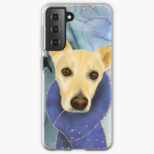 Two Cute Dogs - Family Portrait in Royal Blue Theme Samsung Galaxy Soft Case