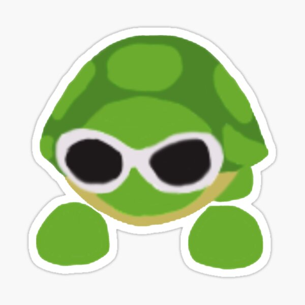 Adopt me turtle with clout goggles Sticker