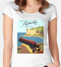 Vintage Discover Puerto Rico WPA Women's Fitted Scoop T-Shirt