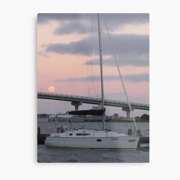 Moonlit Yacht Metal Print