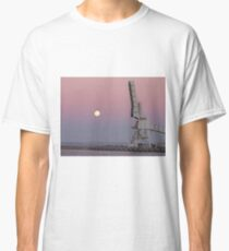 Moonrise Over an Outer Harbour Crane Classic T-Shirt