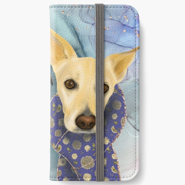 Two Elegant Dogs with Deco Blue Scarves - Family Portrait  iPhone Wallet