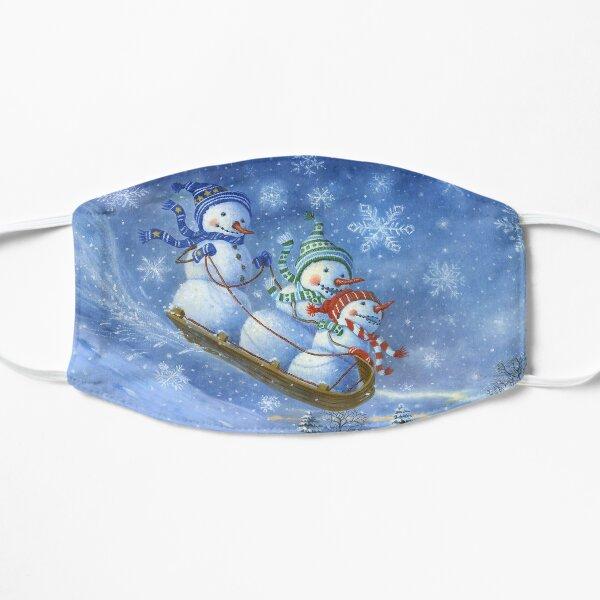 Sledding Snowmen Flat Mask
