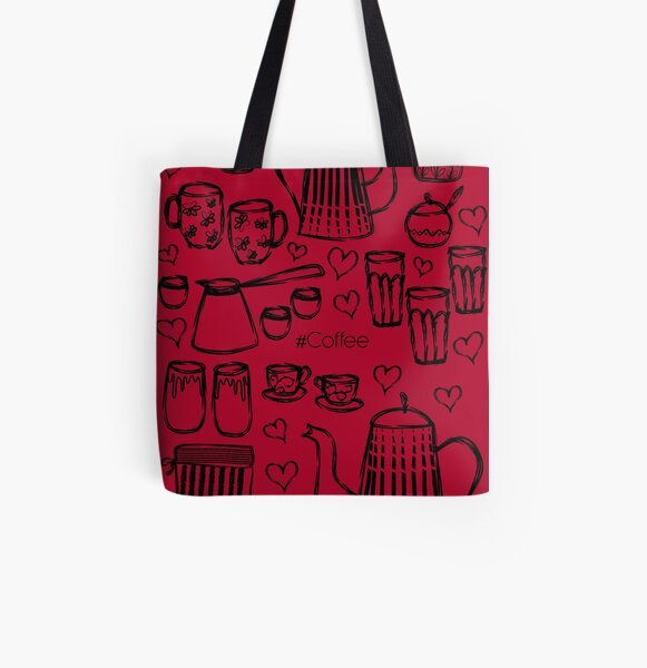 Red #Coffee Handdrawn Mugs and Pots line art All Over Print Tote Bag
