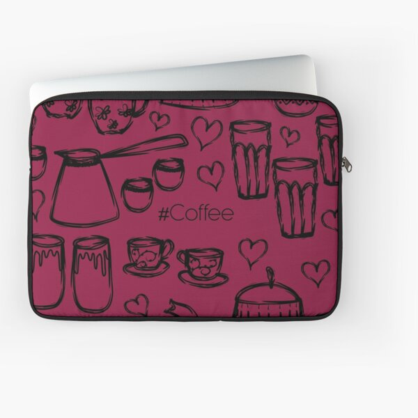 Burgundi #Coffee Handdrawn Mugs and Pots line art Laptop Sleeve