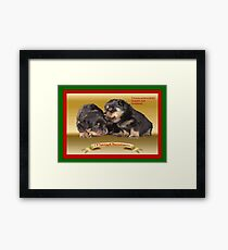 Vector Rottweiler Puppy Christmas Wishes  Framed Print