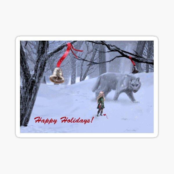 Happy Holidays Winter Wolf Sticker