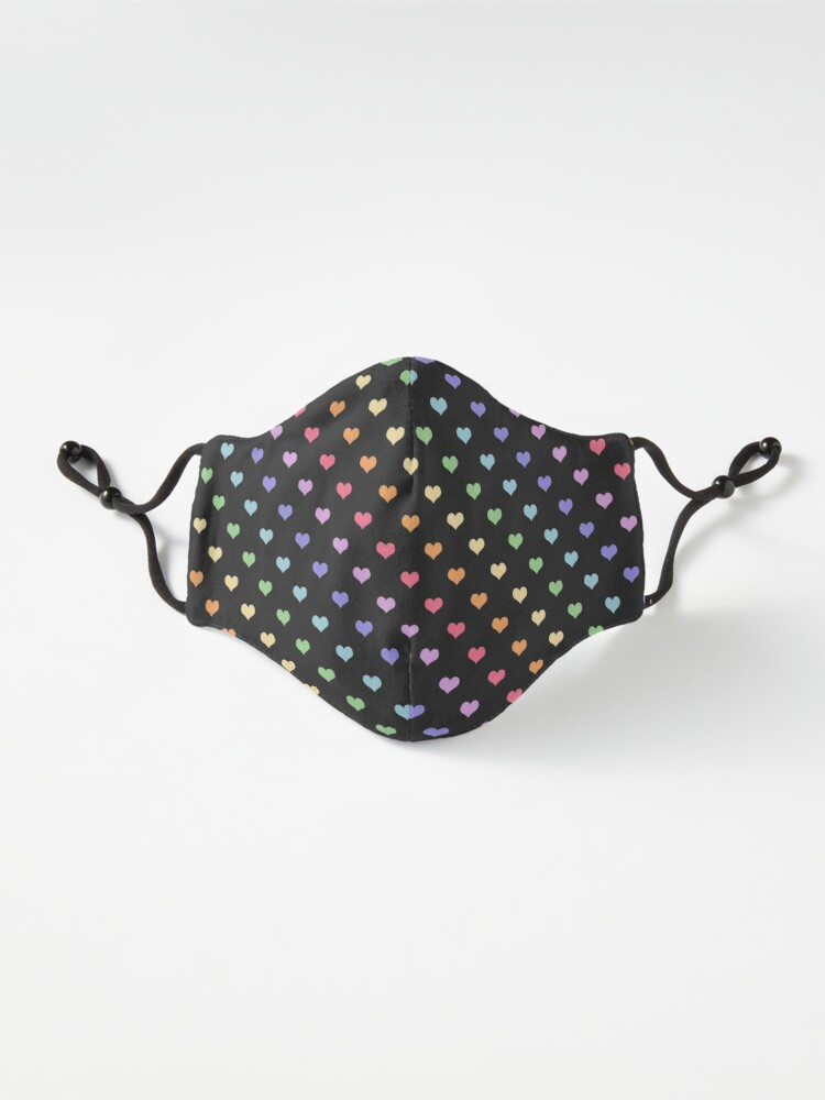 Alternate view of Kawaii Black Rainbow Hearts Mask