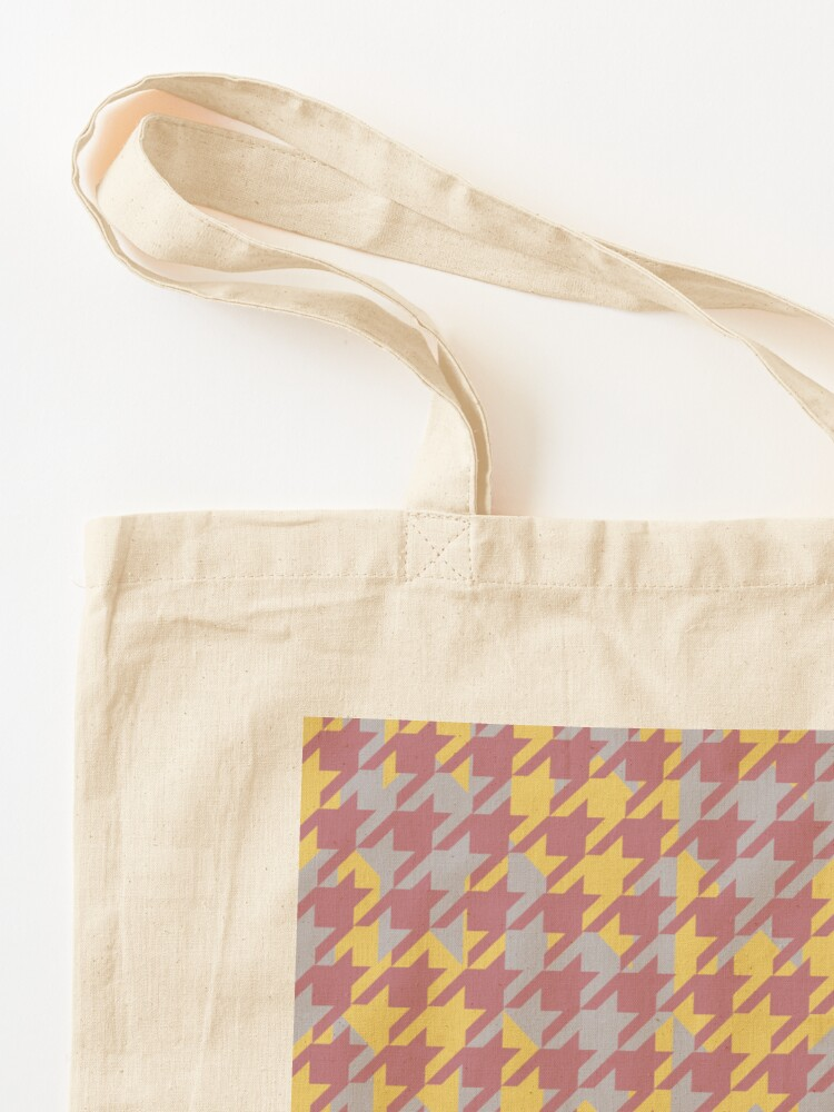 Alternate view of Houndstooth pattern in rose gold, gold and silver combination Tote Bag