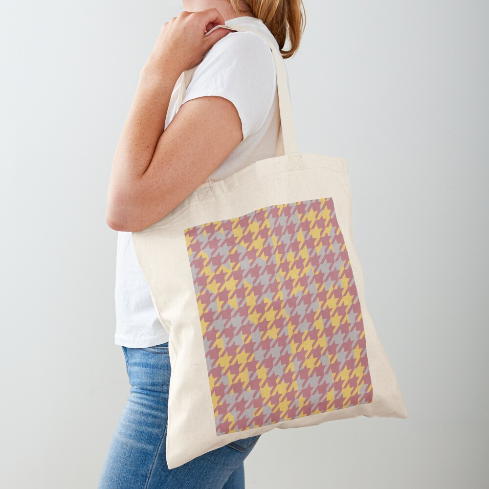 Houndstooth pattern in rose gold, gold and silver combination Tote Bag