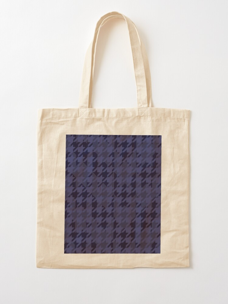 Alternate view of Houndstooth pattern in blue grey mix Tote Bag