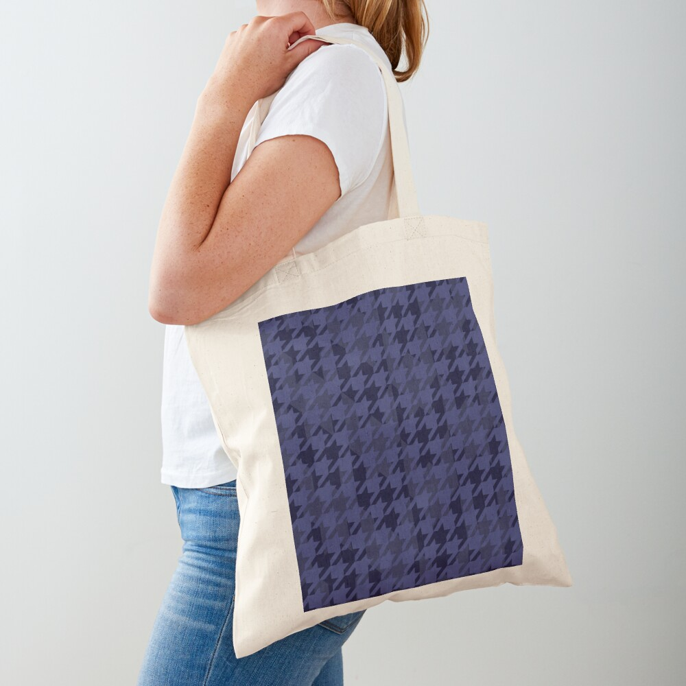 Houndstooth pattern in blue grey mix Tote Bag