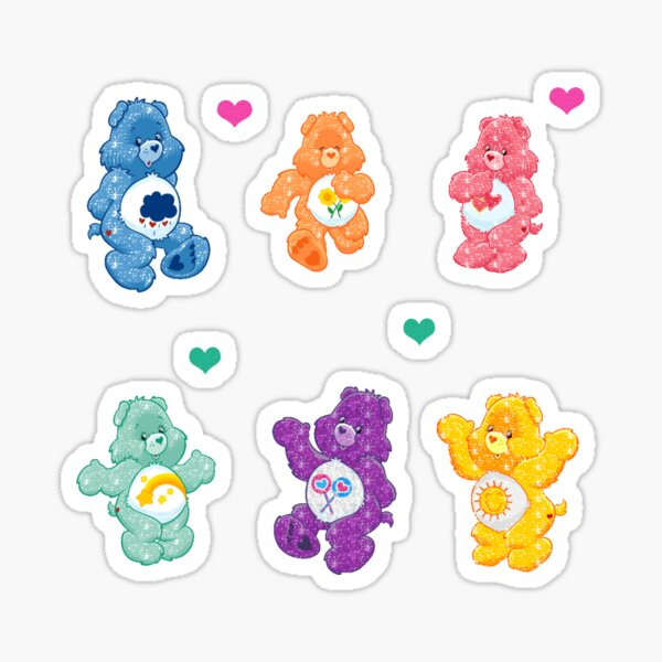 Colorful Glitter Bears  Sticker
